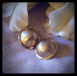 Vintage Round Textured Dome Statement Earrings